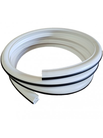 GUNWALE RUBBER WHITE 45MM WITH BLACK STRIP (COEX)