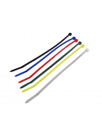 CABLE TIES - ASSORTED COLOURS  - 20 PACKS