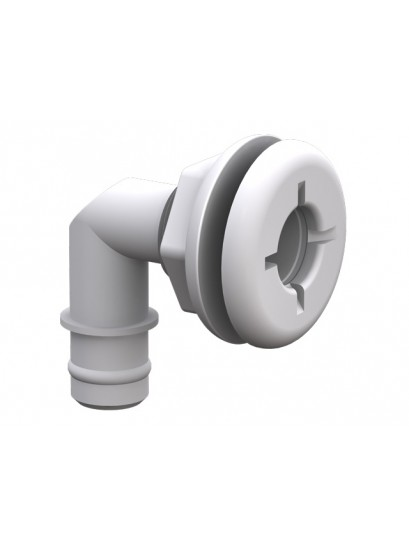 Barbed Elbow Thru-Hull - White 19mm