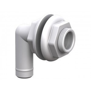Barbed Elbow Thru-Hull With Double Nut - White 19mm