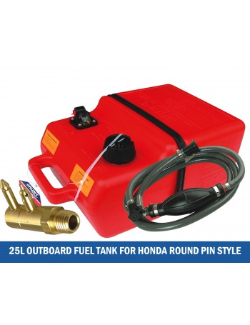 25 L Outboard Fuel Tank Kits Suits Honda ROUND Pin Style W/ Fuel Line &  Tank Adapter