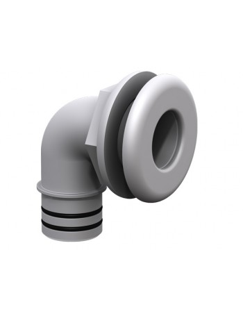 "QWIK-LOK THROUGH HULL ELBOW 1 1/8"" WHITE"