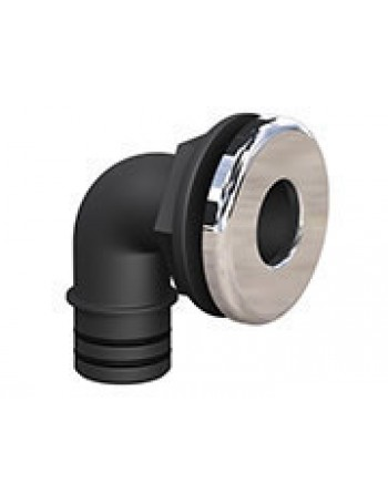 Qwik-Lok Elbow Thru-Hull, black with Chrome Bezel